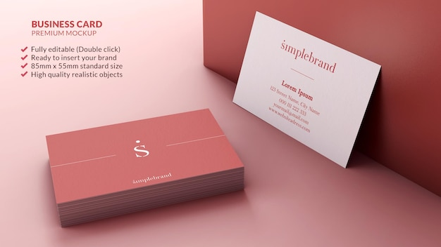 Business cards mockup in a pile and resting on a wall branding design concept