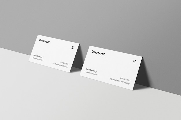 Business cards mockup standing wall
