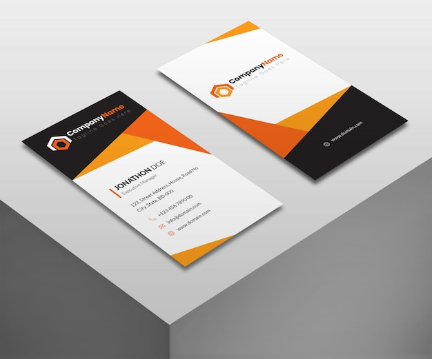 Business cards mockup in vertical style