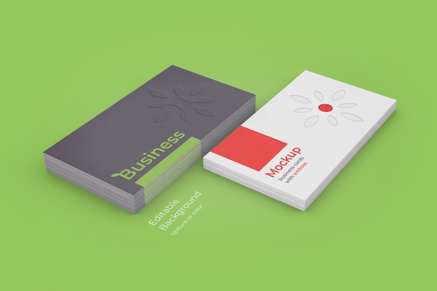 Business cards mockup with emboss up and down