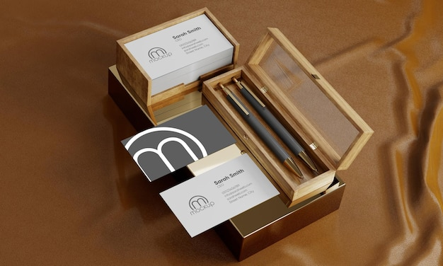 Business cards mockup with pens and wooden box
