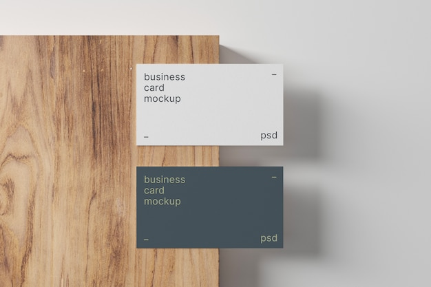 Business cards mockup on wood panel
