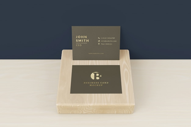 Business cards mockup on wood
