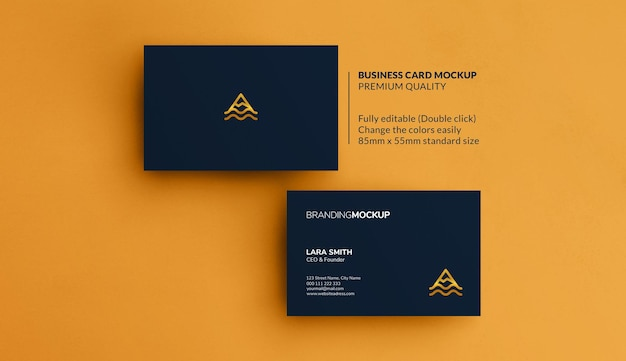Business cards mockup on a yellow background