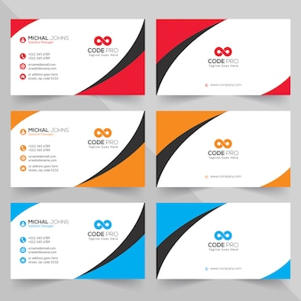Business cards in various colors