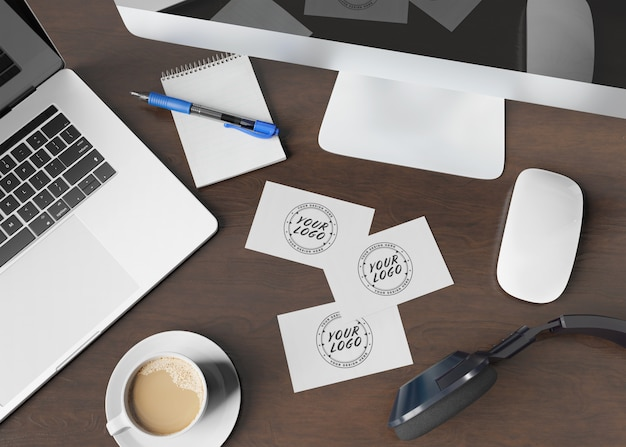 Business cards on wooden desk mockup