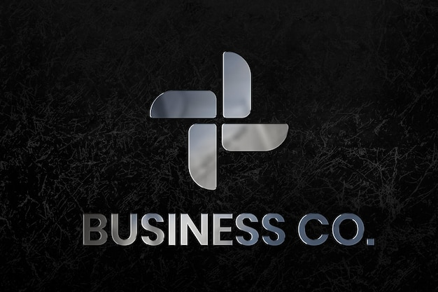 Шаблон psd с логотипом business co с металлическим текстовым эффектом