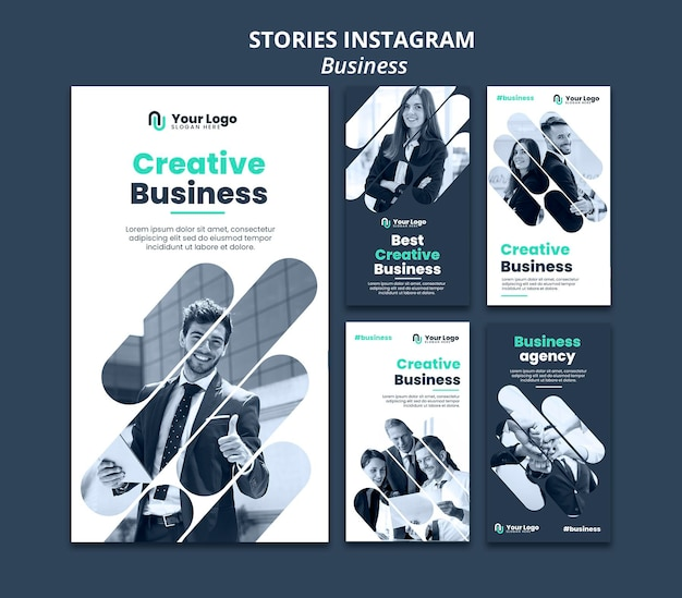Business concept instagram stories template