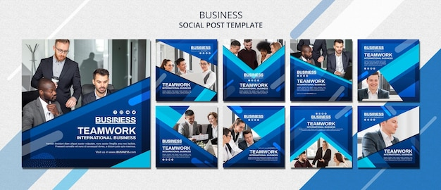 Шаблон сообщения в социальных сетях бизнес-концепции