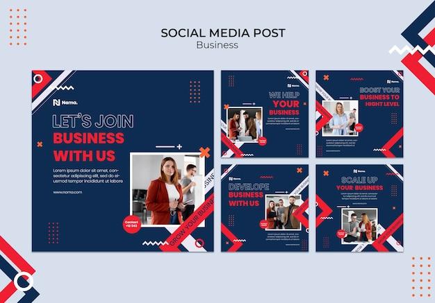 비즈니스 개념 소셜 미디어 게시물