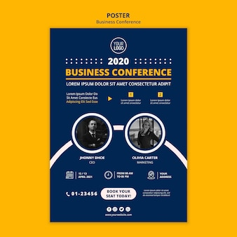 Business conference concept poster template