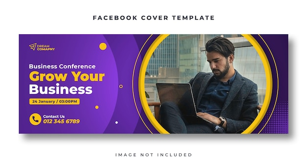 Business conference facebook cover web banner template
