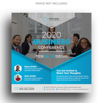 Business conference instagram post template or square flyer template