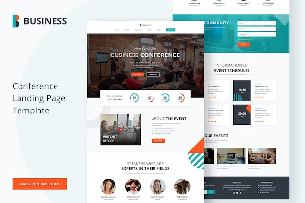 Business conference landing page template