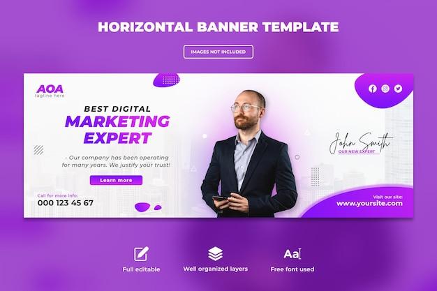 디지털 마케팅 웹 배너 또는 수평 전단지 템플릿 디자인에 대한 비즈니스 회의