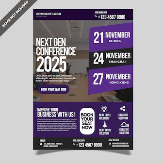 Business conference seminar event flyer template