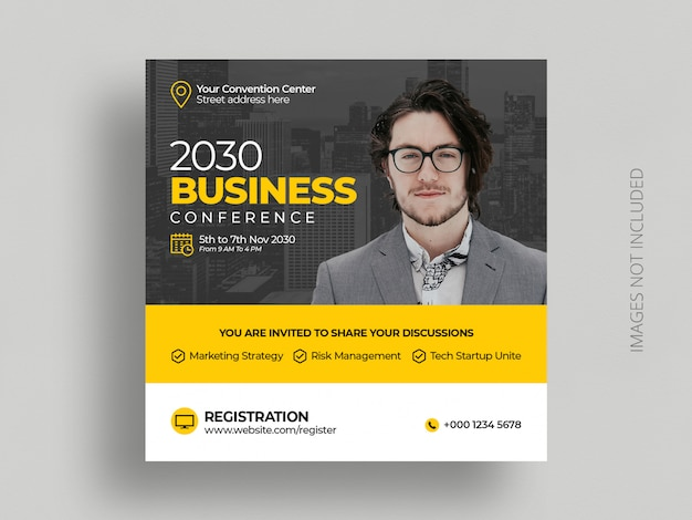 Business conference social media post marketing event  square flyer template