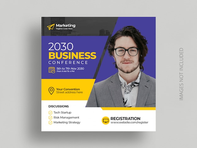 Business conference social media post marketing  square event flyer template
