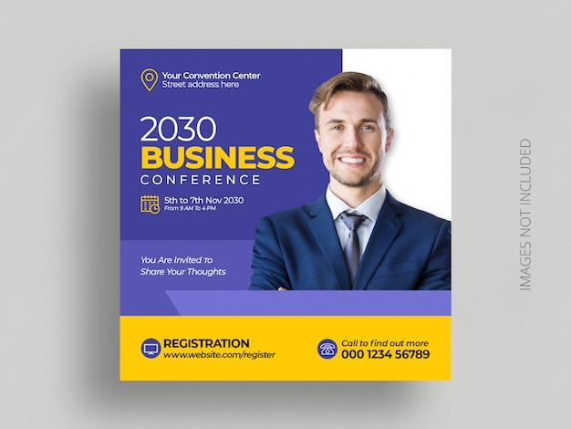Business conference social media post marketing  square flyer template