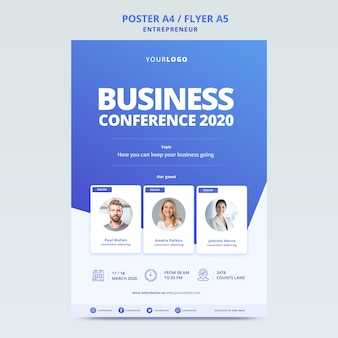 Business conference with template for poster