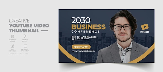 Business conference youtube video thumbnail and web banner template