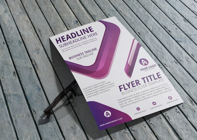 Business corporate identity template for flyer on wooden background
