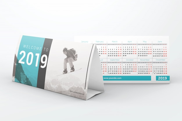 Business desk calendars mockup