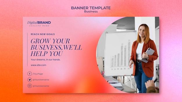 Шаблон баннера развития бизнеса с фото