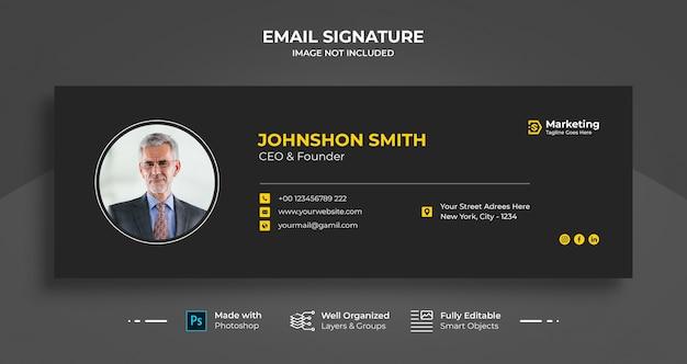 Дизайн шаблона подписи для деловой электронной почты или нижний колонтитул электронного письма и обложка в личных социальных сетях