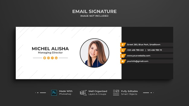 Дизайн шаблона подписи бизнес-письма или нижний колонтитул электронного письма и обложка в личных социальных сетях