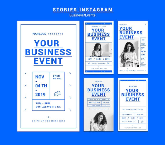 Business event stories instagram pack