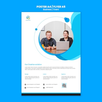 Business event with web template for flyer