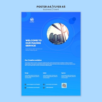 Business event with web template for poster