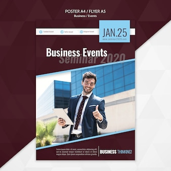 Business events seminar flyer template