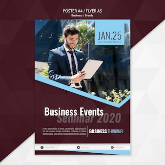 Business events seminar poster template
