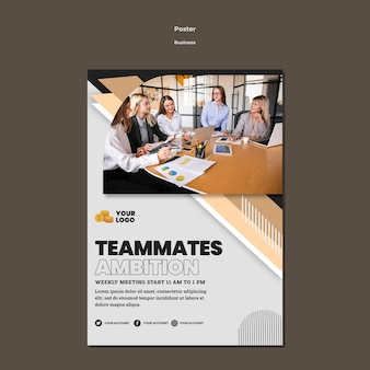 Business flyer a5 template with photo