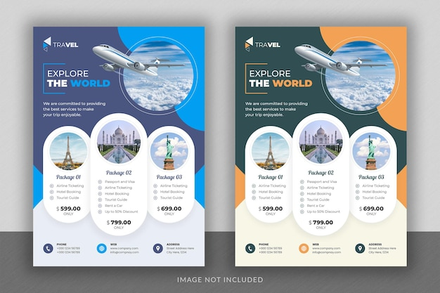 旅行代理店のビジネスチラシのデザインとパンフレットの表紙のテンプレート