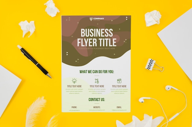 Business flyer mock-up on yellow background