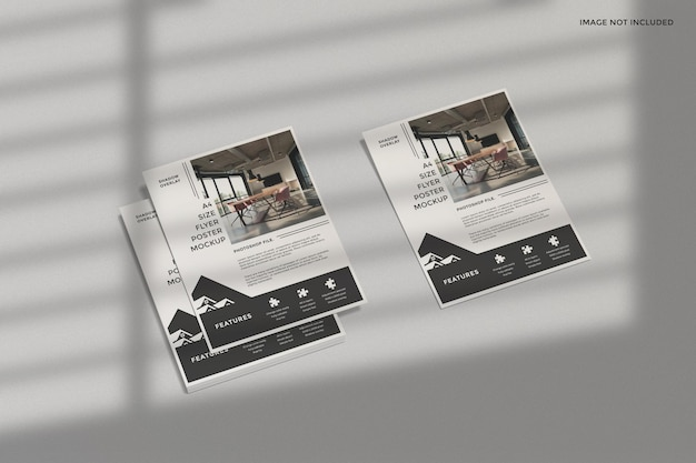 Business flyer mockup with shadow overlay
