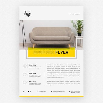 Business flyer template with couch in living room