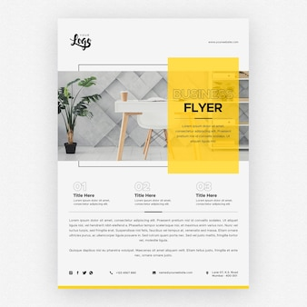 Business flyer template with desk and work space