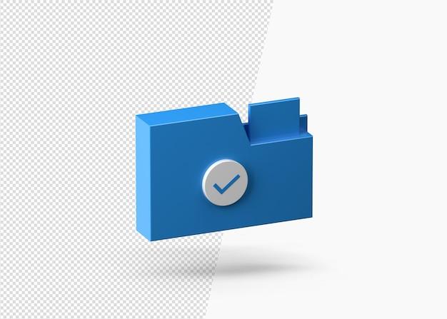 비즈니스 폴더 또는 비즈니스 문서 3d 아이콘 파란색 종이 상자