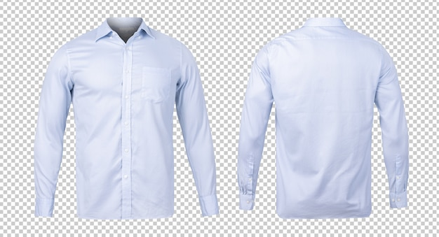 Business or formal blue shirt, front and back view mock-up template for your design.
