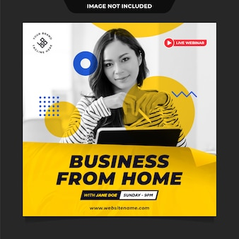 Business from home social media post template