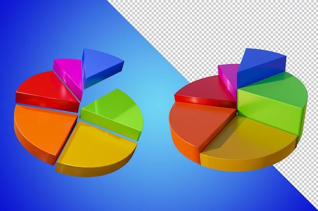비즈니스 그래프 3d 렌더링 절연