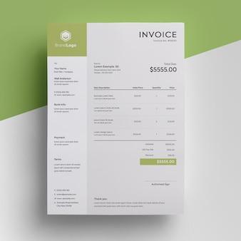 Бизнес зеленый шаблон счета