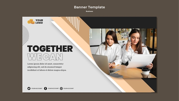 Business horizontal banner template with photo