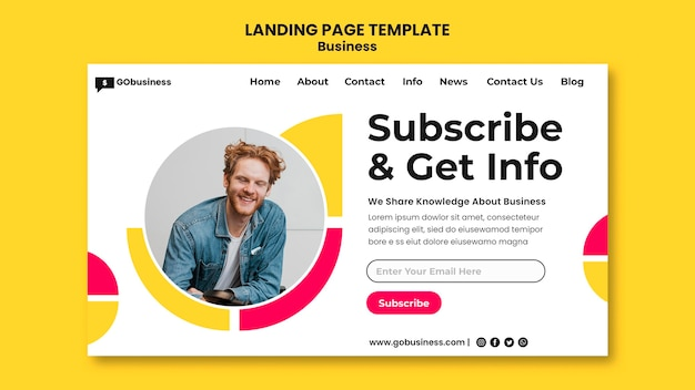 Business info landing page template