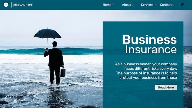 Страхование бизнеса шаблон psd с редактируемым текстом