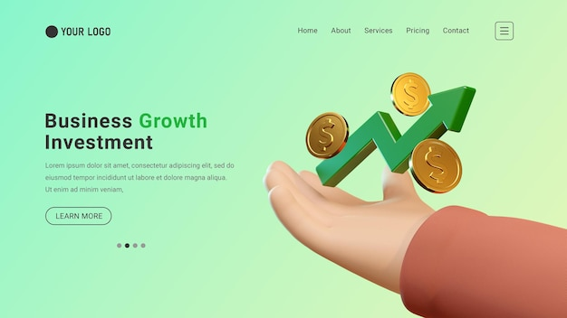 Business investment landing page website with 3d graph and dollar coin concept